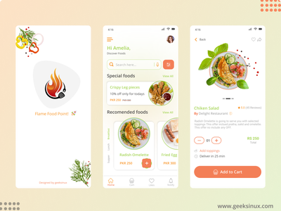 Flame Food Point App chef app food delivery app restaurant app user panel food app user panel food app flame food point dribbble muhammad nawaz web design geeksinux illustration uiux