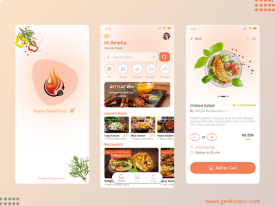 flame food point logodesign graphicdesign chef app restaurant app flame food app food app design uiux geeksinux