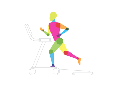 Form Study: Runner running man runners workout monoline sketch illustration rainbow multiply active study body exercise treadmill fitness person color figure form running runner