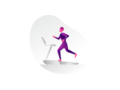 Runner workout treadmill study sketch running run runner person shading gradient illustration form fitness figure exercise color body active