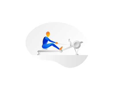 Rower orange blue design activity person study sketch workout row rowing rower illustration form fitness figure exercise gradient color body active