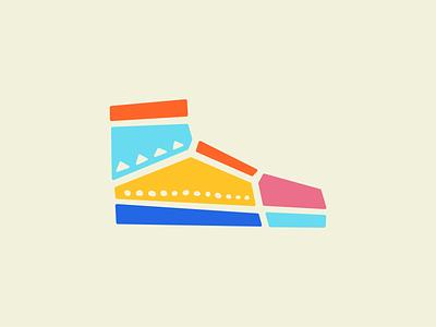 Hi-Tops illo series pebbles flat color design illustration air jordan nike kicks hi top hitop shoes shoe