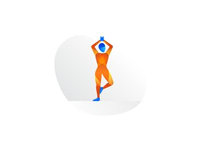 Yoga wellbeing mindfulness gym vrksasana pose study color form gradient illo illustration asana centered yoga fitness active