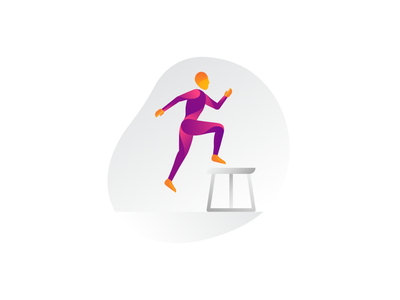 Box Jumps pose inspiration study exercise box jump human gradient workout gym illo body fitness active form illustration