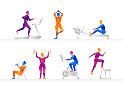 Pump It Up series pose study gym workout inspiration exercise gradient body form illo illustration fitness active