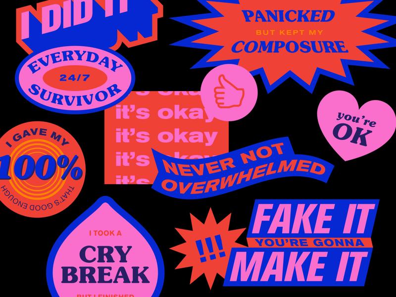 Self motivation neon colors sticker flat vector typography
