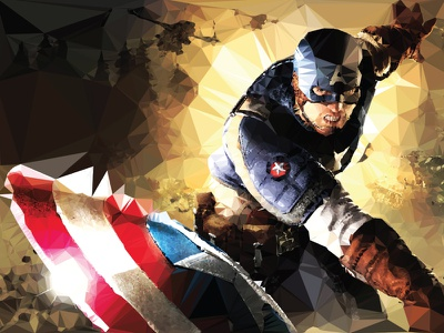 Captain America lowpoly low poly illustration vector design