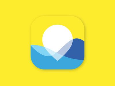 Sea Wether app icon icon flat app logo illustration vector design