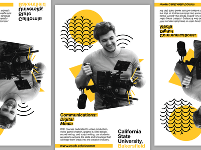 Digital Media Program Flyer simple collateral design minimal yellow bakersfield college school advertising promotional flyer collateral csub