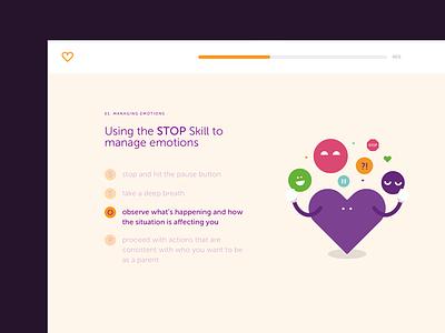 Online course UI concept addiction family heart illustration branding
