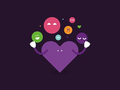 Juggling Emotions addiction family juggle heart illustration branding