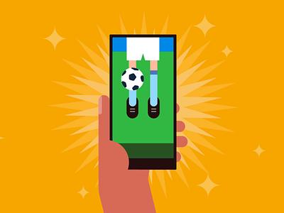 Watching football phone hand animation soccer app football soccer illustration