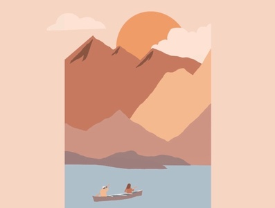 kayaking into the sunset nature canoe kayak background scenery mountains sunset outdoor adventure outdoor advertising outdoorsy outdoors vector minimal illustrator illustration flat design