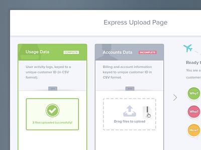 UI Upload Form Walkthrough illustration ui form stages drag upload files successful dash data file sharing