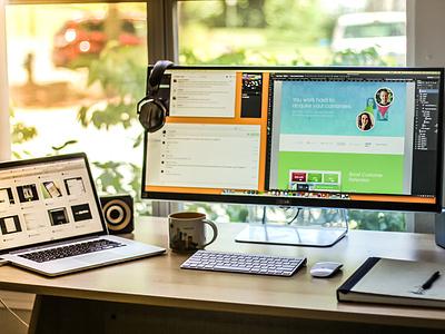 My Workspace Setup workspace desk setup office mac studio window workstation monitor home macbook interior