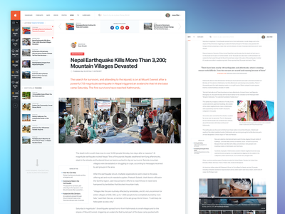 News Article Page posts news article user interface dashboard web weather report stories related popular blog