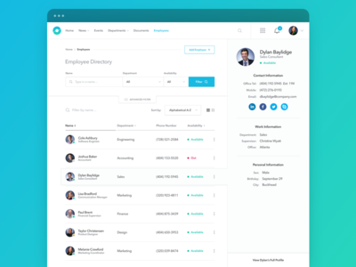 Employee Directory for Enterprise profile dashboard saas team members sort filter collaboration intranet enterprise results search