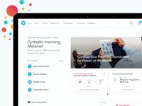 Home Page for Intranet web dashboard ui company news saas enterprise intranet cards hero shortcuts home