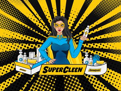 SuperCleen Branding & Illustrations comic comic art superwoman superman superhero postcard design postcard illustration design illustration brand identity illustrator vector logo design identity design brand and identity brand logo branding