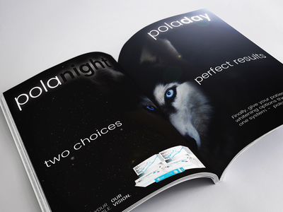Double Page Spread for Night/Day teeth whitening product publishing magazine layout design editorial