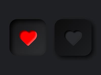Neomorphism. Dark theme heart buttons dark theme dark ui dark neomorphism ui design design ui figma