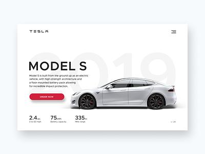 Tesla Model S banner website ui figma ecommerce landing page car web car