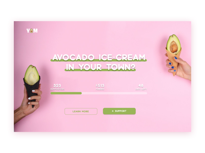 Crowdfunding Campaign figma design ui design web page design web logo pink ice cream avocado daily ui dailyui032 crowdfunding