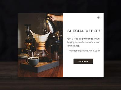 Special Offer popup specialoffer coffee dailyuichallange dailyui036 ui  ux design ui figma