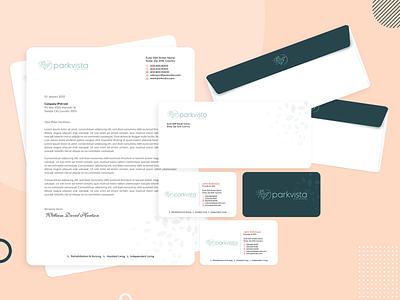 ParkVista Corporate Stationery Design letterhead design stationery envelope business card branding