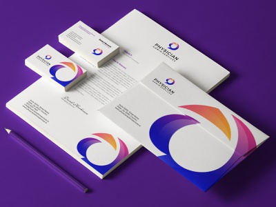 Physician Administrative Services Brand Identity Design abstract flat design flat typography vector logo illustration letterhead envelope stationery design business card branding