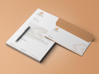 Kinetic Sequence Stationery Design minimal abstract flat design flat design illustration envelope stationery letterhead branding