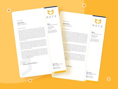 Letterhead Design | METZ flat design abstract flat letterhead stationery design branding