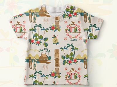 Tiki tee vintage 1950 flower spoon fashion apparel kids hawaii hawaiian retro tiki pattern