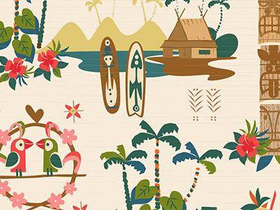 Tiki Pattern vintage babies hawaiian hawaii 1950 retro colorful kids tiki