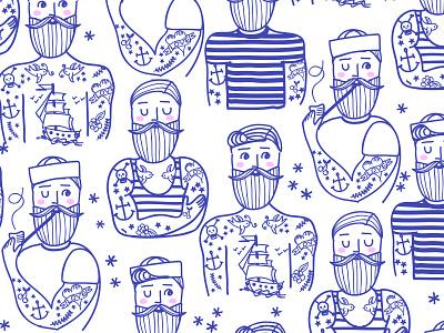 Hipster Sailor Tattoo Parlour classic tattoos tattooed illustration surface pattern design navy sailor hipster tattoo parlour