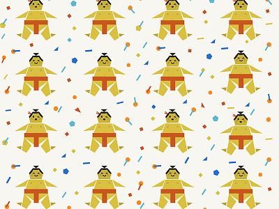 Origami Happy Sumo with Confetti prints textile surface design design pattern