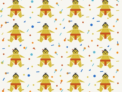 Origami Happy Sumo with Confetti
