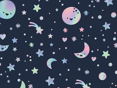 Cosmic vector illustration retail kids patterns design textile