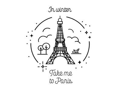 Take me To Paris flat  design vector artwork vector icons line drawing vector illustration logo design