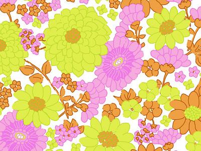 Vintage Flowers graphic retail retro vintage fashion illustration floral patterns design textile 1970s