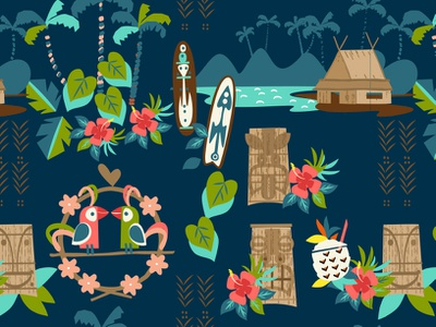 Hawaii Tiki Resort Pattern colorful graphic babies retail fashion design vector illustration kids patterns textile