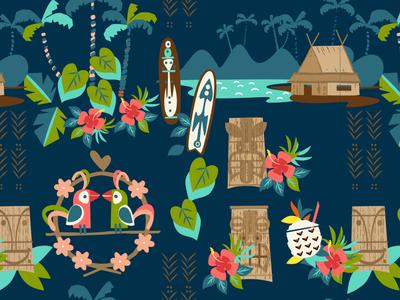 Hawaii Tiki Resort Pattern