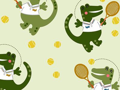 Croco Tennis colorful retro fashion design vintage vector graphic babies kids retail illustration patterns textile