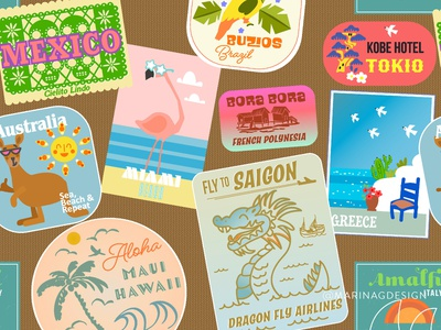 Suitcase with Stickers vintage ux logo retro branding graphic design vector illustration kids patterns