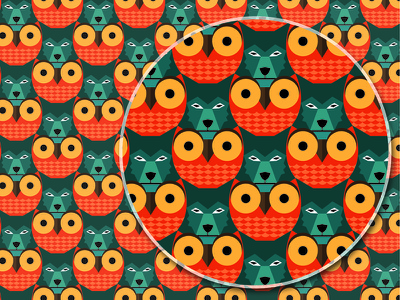 Tessellation print animals magnify repeat graphic pattern wolf owl tessellation