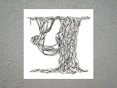 Letter 'य' from Devanagari script inking banyan tree script devanagari letter hindi