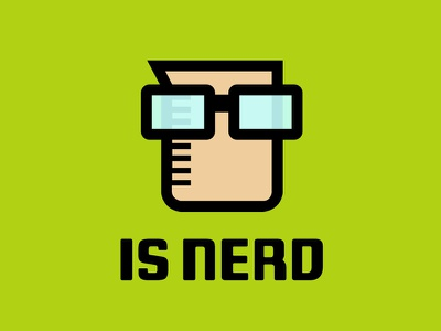 'is nerd' logo blog journal geek writer science beaker logo specs nerd