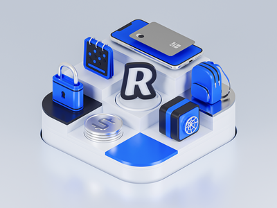 App Showcase: Revolut header illustration header design fintech banking iphone diorama 3d concept minimal featured showcase app store icon app store apple isometric illustration blendercycles 3d 3d art blender