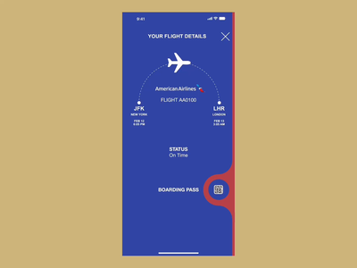 DAILY UI CHALLENGE - DAY 1 (MOBILE BOARDING PASS) illustrator design ux ui app branding app design vector minimal animation