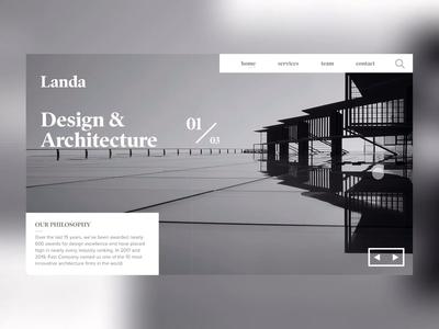 DAILY UI CHALLENGE - DAY 6 (LANDA ARCHITECTURAL SERVICES) flat website graphicdesign design minimal webdesign web design app design branding ui animation